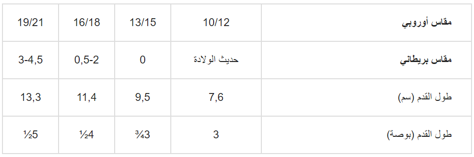 قياسات H&M جواربالاطفال