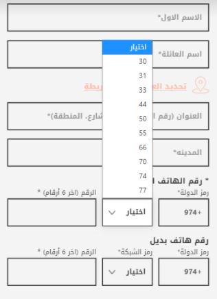 اختيار رموز شبكات قطر على voga closet