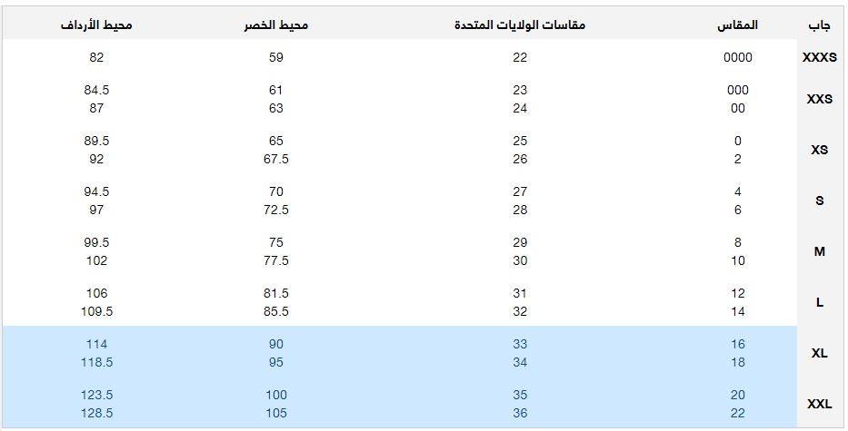 جدول قياسات جاب للملابس السفلية النسائية
