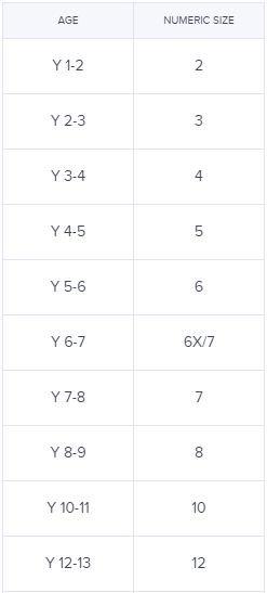 جدول مقاسات Noon تيشيرتات الاطفال